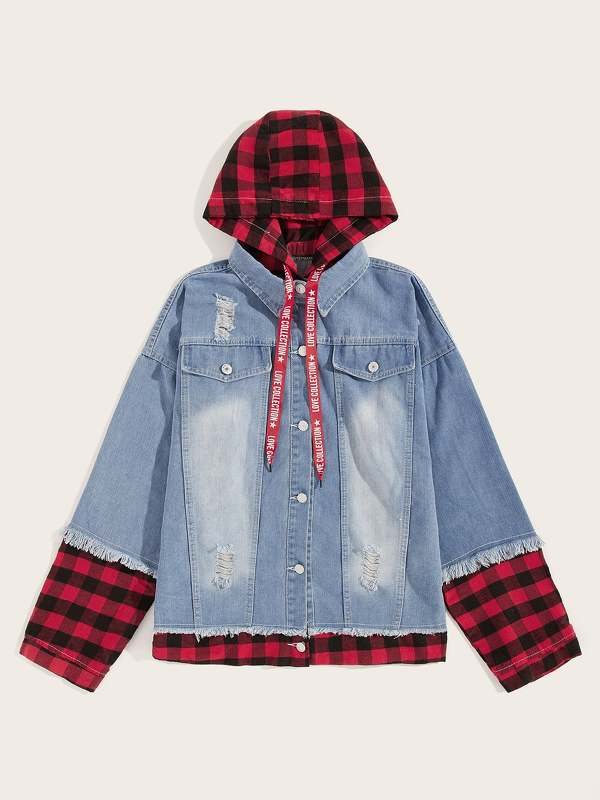 Men 2 In 1 Letter Tape Ripped Hooded Denim Jacket
